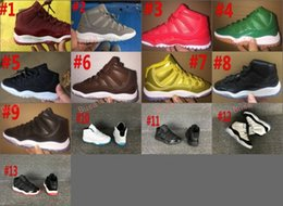Wholesale Kids Hunting Boots - 2017 New Air Retro 11 Space Jam Kids Sport Basketball Shoes GS Heiress Suede Maroon Retro 11s Sneakers 72-10 Gold Gamma Blue Size 28-35