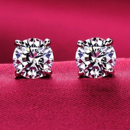 Wholesale 925 Studs - 925 Sterling Silver Forever Rose & Clear CZ Round Circle Stud Earrings For Women Fashion Jewelry