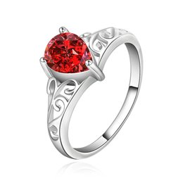 Wholesale Gemstones Ring Designs - Red Gemstone Ring Water Drop Design Romantic Jewelry 925 Silver Plated Inlaid Stone CZ Zirconia Ring European Brand Fashion Crystal Jewelry