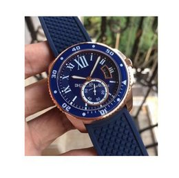 Wholesale Mens Rubber Wrist Band Watches - 2017 New Calibre Diver Blue Dial And Rubber Band Automatic Movement Men's Watch WGCA0010 18k Rose Gold Mens Wrist Watches