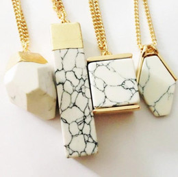 Wholesale Long Chained Gemstone Necklace - New Necklaces Pendants Prism Gemstone Rock Natural Marble Quartz Healing Point Chakra Stone Long Charms Chains Necklaces for Women A296