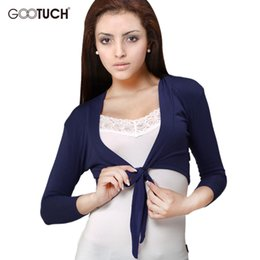 Wholesale Thin Womens Cardigan - 2017 Womens Three Quarters Sleeve Thin Coats Open Stitch Women Cardigan Femme Cropped Top Ladies Short Shrugs K-320