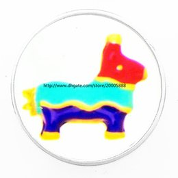 Wholesale Easter Tin Toy - fashion Coloured toy pony 18 mm glass print ginger snap button jewelry luxurious alloy bottom fit 18 mm snaps bracelets best gifts