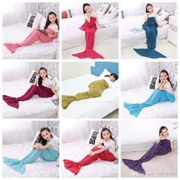 Wholesale Handmade Kids Bags - Mermaid Baby Blankets Mermaid Tail Knitted Blanket Kids Handmade Crochet Blanket Throw Bed Wrap Sofa Sleeping Bag Baby Quit 90*50CM H389
