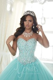 Wholesale Evening Crystal Sheath Jewel - Ball Gown Light Blue Quinceanera Dresses Sheer Neck Jewel Beads Crystals Sweet 16 Evening Dresses Plus Size Long Organza Ruffled Gowns