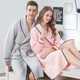 chinese robes women Coupons - 100% Cotton Couples Bathrobe Thick bathrobe Winter Autumn Thickening Terry Women Cotton Robe Men Chinese Kimono FT124