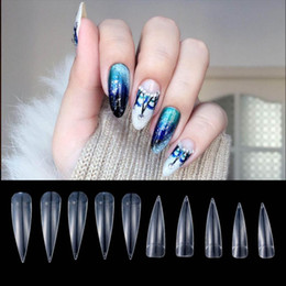 Wholesale Full Tips - 500pcs Nail Art Clear Natural White Full Cover Long sharp stiletto False Fake Nails Tips Manicure Artificial Nails Salon