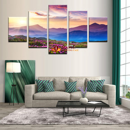 Wholesale mountain wall painting - 5 Piece Modern Abstract Art The Sunset and The mountain Modern Home Wall Decor Canvas Picture Art HD Print Painting On Canvas Artworks