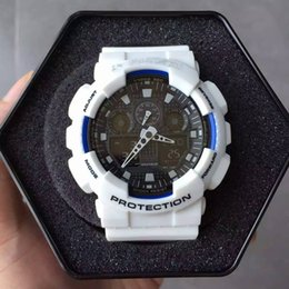 Wholesale Silver Watch Boxes - Men's Hot Sale Sport Watch 2017 New Stainless Steel Back LED g Style Shock Watch Digital Analog Waterproof Wristwatch With Metal Box GA100