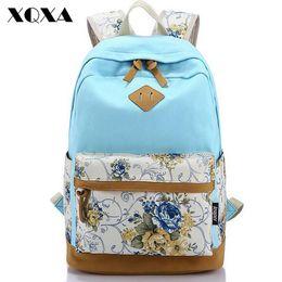 Wholesale Canvas Dots Backpacks For Girls - XQXA Canvas Floral Printing Satchel Rucksack Backpacks School Bags for Girls Female Mochila Escolar Printing Backpack School