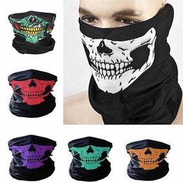 Wholesale Bike Bandana Scarf - Skull Face Mask Outdoor Sports Ski Bike Motorcycle Scarves Bandana Neck Snood Halloween Party Cosplay Full Face Masks Ear Muffs YYA696