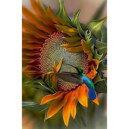 Wholesale sunflower paintings - Sunflower and Bird DIY Diamond Painting Embroidery 5D Beauty Cross Stitch Crystal Square Unfinish Home Bedroom Wall Art Decor Craft Gift