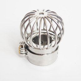 Wholesale Ball Weight Chastity Ring - Scrotum separation fixture Stainless Steel Chastity Device Scrotum Restraint 495g Weights Device Spike Ball Stretcher Locking Cock Rings CBT