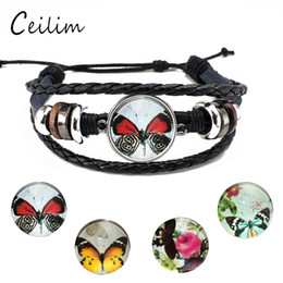 Wholesale Butterfly Bracelet For Girls - Charm glass butterfly bracelets black leather bracelet weave multilayer adjustable expandable bracelet for women girls fashion jewelry