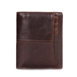 Wholesale first fold - Short Mens Wallets first layer Cowhide Vintage Oil wax Fold Genuine Leather Wallets Credit card wallet free shipping