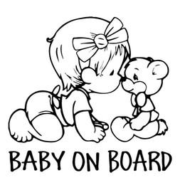 Wholesale Bumper Board - 14*15CM BABY ON BOARD Lovely Bear Car Styling Decals Cartoon Vinyl Car Sticker Black White Baby In Car Safety Sign Bike Decal Window Bumper
