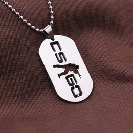 Wholesale Neckless Man - Wholesale- ER Games CS GO Necklace Counter Strike Neclace Male Necklase Neckless Stainless Steel Link Men Jewerly Colar Masculino MN005