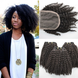 Wholesale 4a Human Hair Weave - 4x4 Kinky Curly Lace Closure With Bundles 4a,4b,4c Afro Kinky Human Hair Extensions No Shedding G-EASY