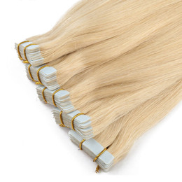 Wholesale Tape Hair Extensions Lengths - Top quality 7A-- indian remy human hair straight PU tape hair Extensions 2.5g per pc&40pcs per lot  Length 16''-Color 4&8&16,40pcs per color