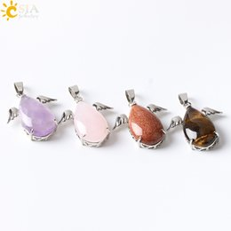 Wholesale Amethyst Turquoise - CSJA Fashion Little Angel Wings Natural Amethyst Pink Quartz Gem Stone Pendants for Necklaces Women Turquoise Opal Jewelry E227