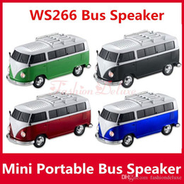 Wholesale Wholesale Plastic Readers - Portable Bus Speaker WS-266 Mini Stereo Car Speakers Subwoofer Deep Bass Car Speaker Support TF Card USB Bulit-in Battery MP3 Player ws266