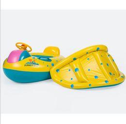 braccialetto salvagente Sconti New Baby galleggiante gonfiabile per bambini sede di nuotata del bambino anello di nuoto barca galleggiante Piscina bambino Sedile con il parasole