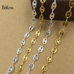 Wholesale Chains Meters Gold - BoYuTe (2 Meters Lot) 5*7MM Oval Charm Link Silver Gold Plated Metal Chain Diy Jewelry Materials