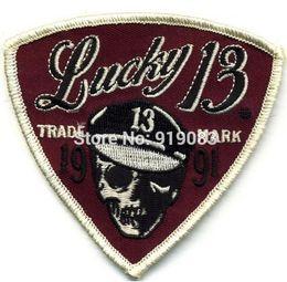 Fortunati motocicli online-Lucky 13 Patch Badge Sleeve Moto Skull Logo Hot Rod Drag race Tattoo MC Biker Vest Jacket back transfer petto