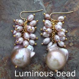 Wholesale white pearl earrings silver hook - FC102914 White Purple Keshi Pearl Rice Pearl Gold Plated Hook Earrings