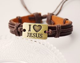 Wholesale love peace bracelets - New Man's Coffee Leather Bracelet Bronze Peace Love JESUS Cool Wristband Jewelry Holiday Gift Cuff for Men and Women Free Shipping