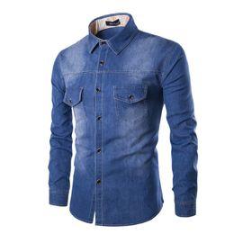 2019 jeans progettato camicie Commercio all'ingrosso- Camicia di jeans di moda tinta unita degli uomini di marca di cotone Abbigliamento lavato tasca Design Camicia di jeans slim fit casual 2XL sconti jeans progettato camicie
