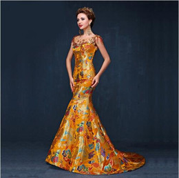 Wholesale Traditional Chinese Wedding Cheongsam - 2017 Elegant Luxury Yellow Cheongsam Chinese Traditional Dress Long Qipao Evening Gowns China Wedding Dresses Free Shipping