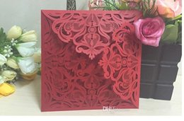 Wholesale Cheap Wedding Invitations Free Shipping - Elegant Laser Cut Hollow Flower Wedding Invitations Cards 2016 High Quality personalized Bridal Invitation Card Cheap DHL free shipping