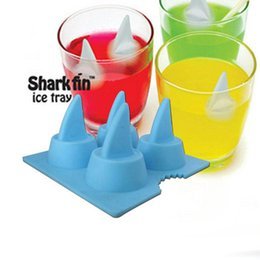 Wholesale Shark Shape Mold - Ice Mould Tray Cool Shark Fin Shape Ice Cube Freeze Silicone Mold Ice Maker Kitchen Tools & Gadgets Accessories