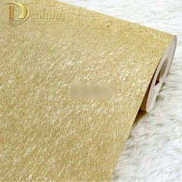 Wholesale Household Foil - Wholesale-High quality Sliver Gold Solid Color Gold Foil Wallpaper Modern Luxury KTV Entertainment Household Decoration Wall paper R557