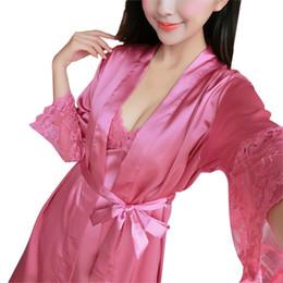 Wholesale Long Pajama Dress - Wholesale- 2pcs set Women Sexy Lace Floral Strap Dress + Long Sleeve Robe Pajama Nightwear Ladies Sleepwear