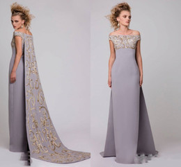 Saudi Arabic Of Shoulder Evening Dresses With Embroideried Long Train Gray Satin Sheath Prom Dresses Cape Style Formal Party Dress Vestidos