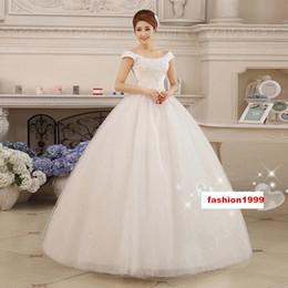 Wholesale Wedding Dresses Slim Line - 2017 Bride White Sexy Gown Wedding Dresses Tiered Skirts Off Shoulder Lace-up Floor-Length Women Slim Sequins Lace A-Line Dresses Plus Size