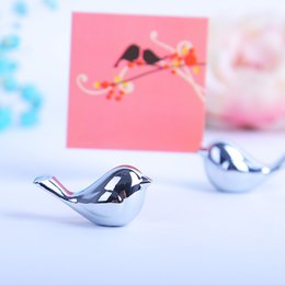 Wholesale Bird Place Holder - Metal Love Bird Place Card Holder Fashion Wedding Favor Table Decoration Name Card Holder DHL Free Shipping