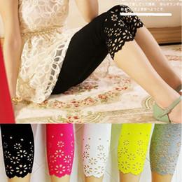 Wholesale Hot Lace Leggings - Wholesale- Hot Summer Style Women Floral Leggings Hollow Out Flower Lace Leggings Female Short Leggings Plus Size XXL Pants Safty