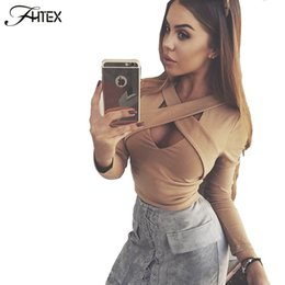 Wholesale Women Nightclub Shirts - Women Fashion New Sexy Cross Hollow Out Long Sleeve Autumn T Shirt Elegant Casual Slim Nightclub Crop Top Cropped Tees Shirts 17409