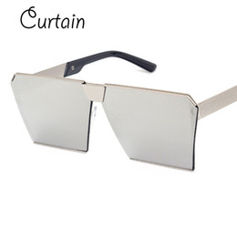 Wholesale Wholesale Branded Curtain - Wholesale- Curtain Fashion luxury square sunglasses mens brand designer celebrity metal UNISEX women oversized sunglasses mirror lens Cool