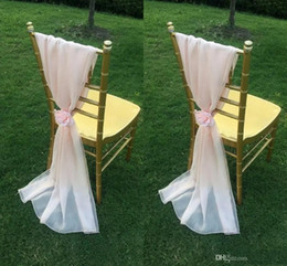 Wholesale Wholesale Gold Ribbon - 2017 Pink Chair Sashes Flower Romantic Chiffon Beautiful Chair Covers Luxurious Wedding Decorations Noble Wedding Supplies