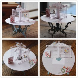 Wholesale Laser Cut Paper Birdcages - Wholesale-Birdcage Laser Cut 3D pop up paper laser cut crafts display custom Handmade Greeting Cards Happy Birthday Gifts 7006