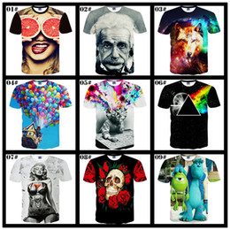 Wholesale Skull Print Shirts Women - 2017 New 3D Shirts For Men 72 Colors Branded Punk Style Shirts For Men Dragon Ball Skull Sexy Women t Shirt Tops