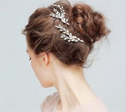Wholesale Vintage Crown Hair Pieces - Vintage Wedding Bridal Leaf Hair Comb Headpiece Jewelry Crystal Rhinestone Tiara Crown Hair Accessories Prom Headdress Gold Head Pieces