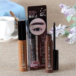 Wholesale Korean Eyes Make Up - NEW Eye Brow Tattoo Tint Waterproof Long-lasting Peel Off Dye Eyebrow Gel Cream Mascara Make Up Pen Korean Cosmetics NOVO Eye Makeup 1pcs