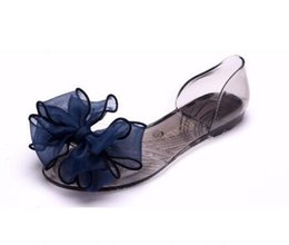 Wholesale Summer Ribbon Sandals - Women 2017 Sweet Jelly Summer Women's Sandals Peep Toe Big Ribbon Bowtie Knot Transparent Material Flat Shoes Woman A7030601