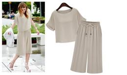 Wholesale Ol Set - New arrival summer pant set Top two piece sets women casual tops plus size blouse with elastic waist wide pants OL-8674