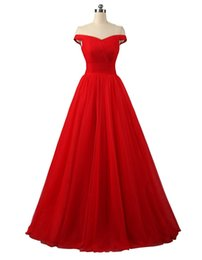 Wholesale Simple Formal Ankle Length Dress - 2017 Elegant Red Long Formal Homecoming Dress Chiffon Off Shoulder A line Simple Style Prom Party Gown